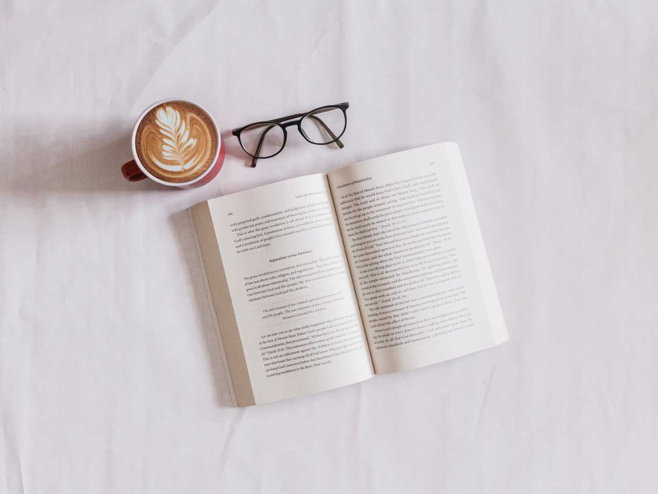 Book, glasses and coffee
